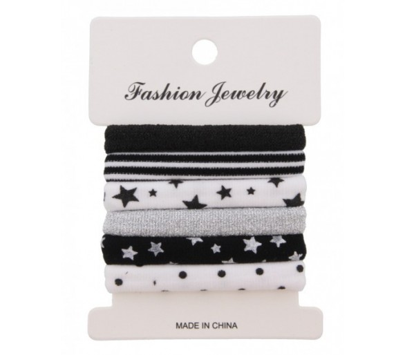 Hair Elastics 6pcs Stars-Dots-Stripes