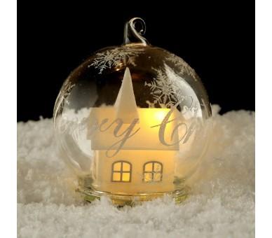 Glazen LED Theelicht Kerstmis Bol - Winter Wonderland