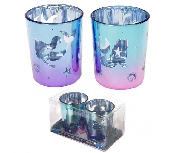Betoverde Zeemeermin Set van 2 glazen Theelichthouders