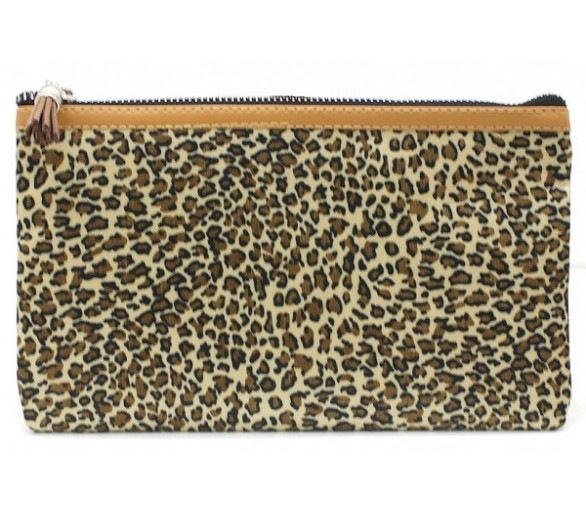 Make Up Bag with Leopard Print and Tassel 22x13.5cm Brown