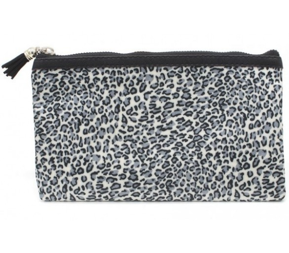Make Up Bag with Leopard Print and Tassel 22x13.5cm Grey