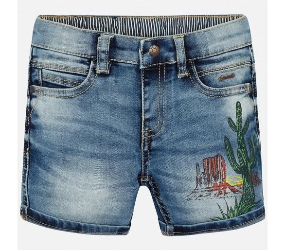 Printed denim bermuda shorts