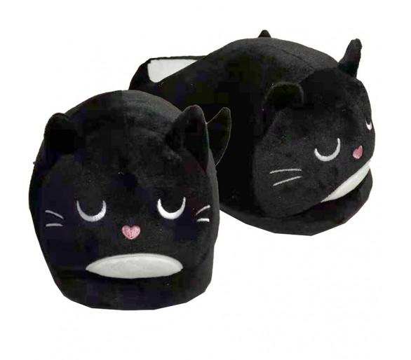 Feline Fine Zwarte Kat Pantoffels (Unisex One Size)
