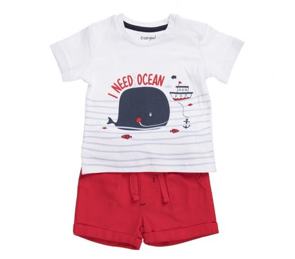 Leuk rood shortje met t-shirtje km met walvis