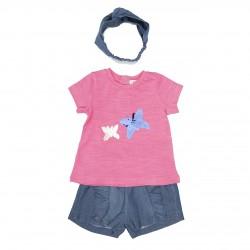 Shortje met t-shirtje vlindertjes + haarbandje