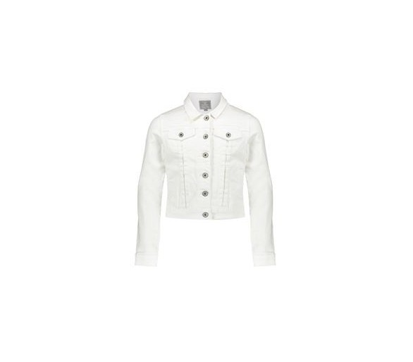 Jeans jacket chest pockets l/s white denim
