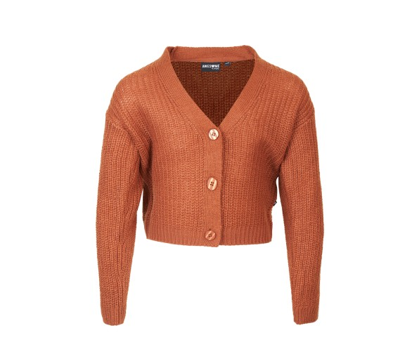 SOMEONE : GILET LONG SLEEVES COGNAC