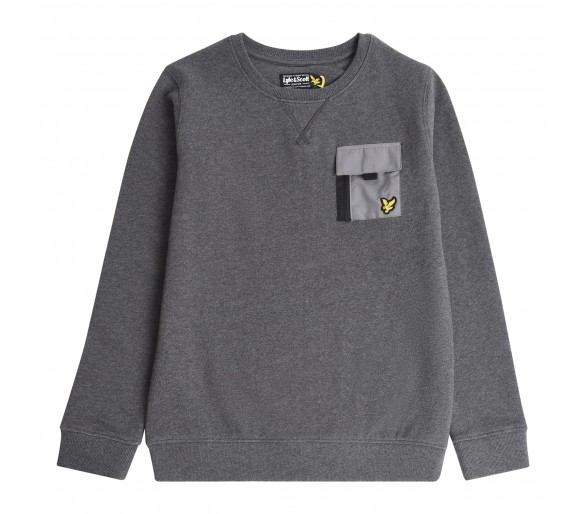 LYLE & SCOTT : ZIP POCKET BB SWEAT CHARCOAL GREY M
