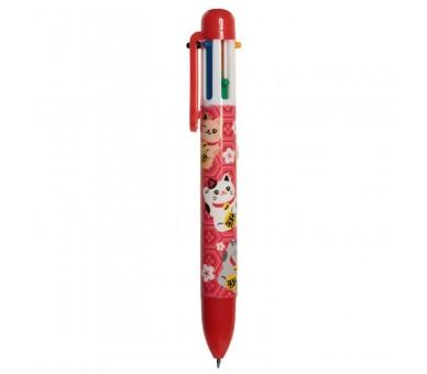 Maneki Neko Gelukskat Meerkleurige Pen (6 kleuren)