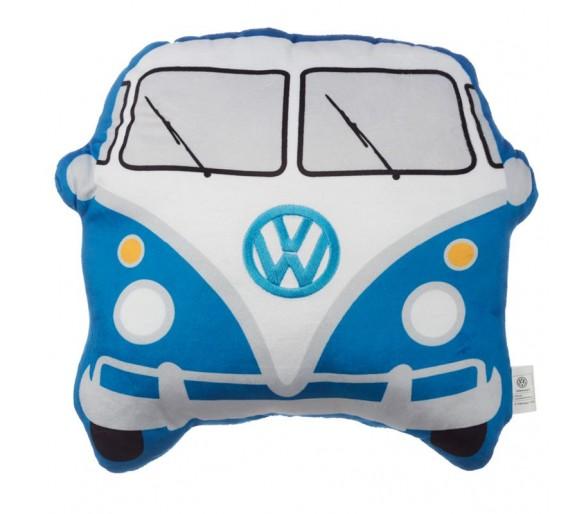 Pluche Volkswagen Kampeerbus VW T1 Blauw Sierkussen