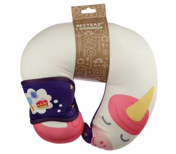 Relaxeazzz Cutiemals Eenhoorn Pluche Rond Reiskussen & Slaapmasker