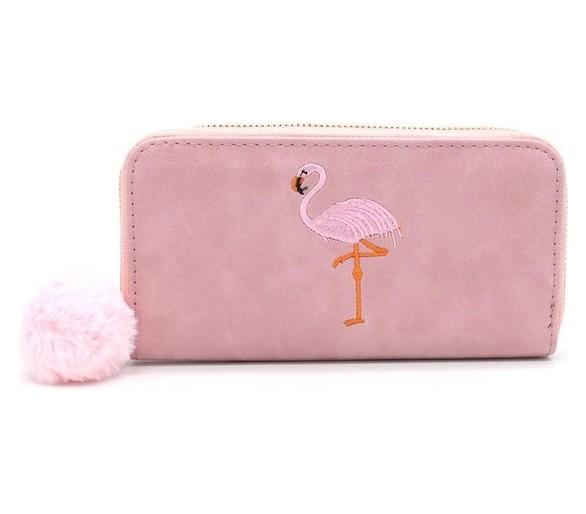 Portemonnee met Flamingo en Pompon roos