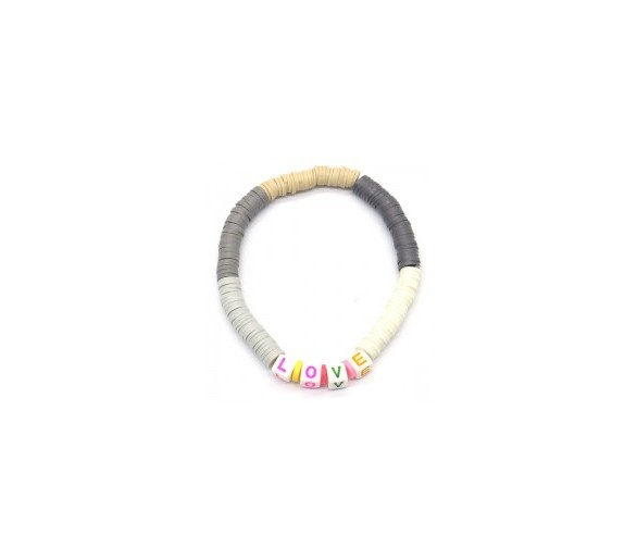 Elastic Bracelet LOVE Brown-Grey
